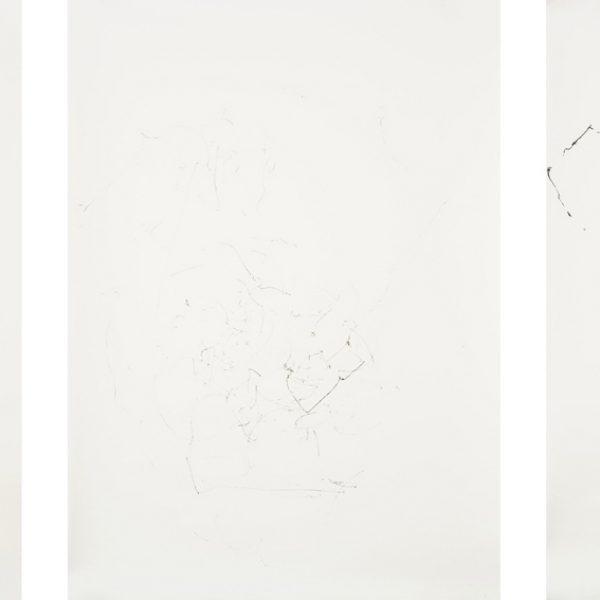 Diálogo (Balão e corpo), 2007. Tinta preta sobre papel algodão, tríptico. 80 × 65 cm cada.