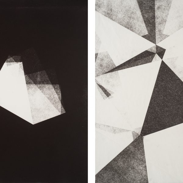 Fold, 2015. Monoprint on paper. Diptych. 51 x 76 cm each.