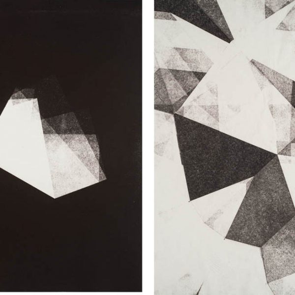Fold, 2015. Monoprint on paper. Diptych. 51 x 76 cm each.