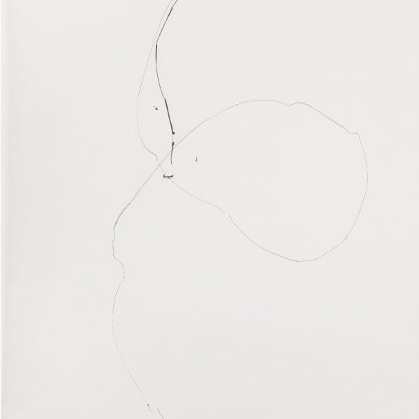 Diálogo (Balão e corpo), 2007. Tinta preta sobre papel vegetal. 200 × 101 cm.